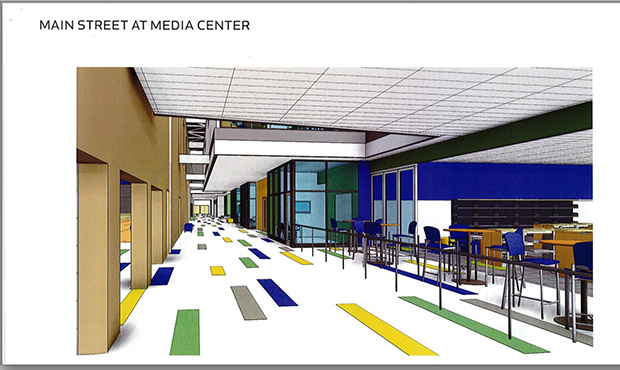 This is an architectect's rendering of the main corridor of the school's first floor, at the entrance. It's where all the shared services are located, such as the cafeteria, media center, auditorium and main office.