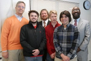 From left are Hans Gieskes, honorary consul for the Netherlands; Ryan Dekeon, head delegate for Model UN; teacher Zachary N. Simmons, Model UN adviser; Andrew Morphill, Model UN delegate; Alejandro Lopez, head delegate for HillieMUN (the upcoming Middle School Model UN at HHS); and Rashaun Martin, district curriculum supervisor for Social Studies/History and Foreign Languages.