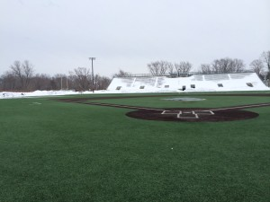 Haverhill's artificial turf baseball diamond is clear and game-ready.