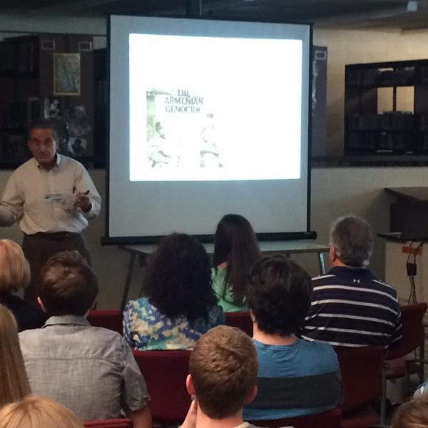 Dr. Ara Ieknavorian talks about the Armenian Genocide of 1915-1917 during a presentation at Haverhill High School. The visit was organized by Tom Jordan of the History Department.(Photo courtesy of Rashaun Martin)